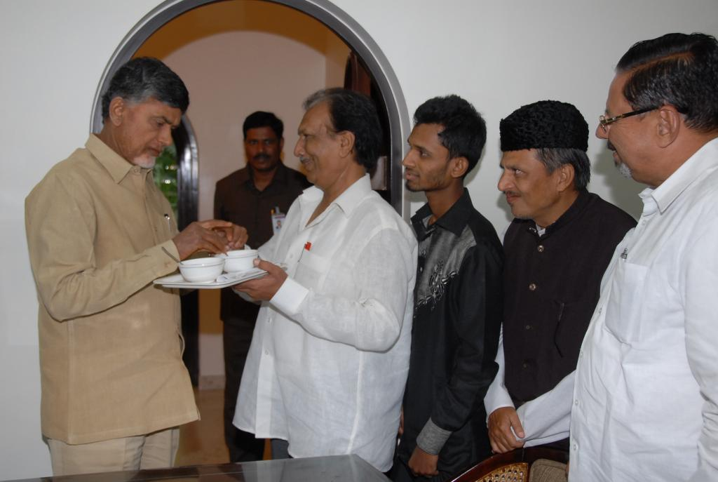 Minority leaders Eid celebrated with AP CM N.Chandrababu Naidu at his residence on 29.07.2014 Galler