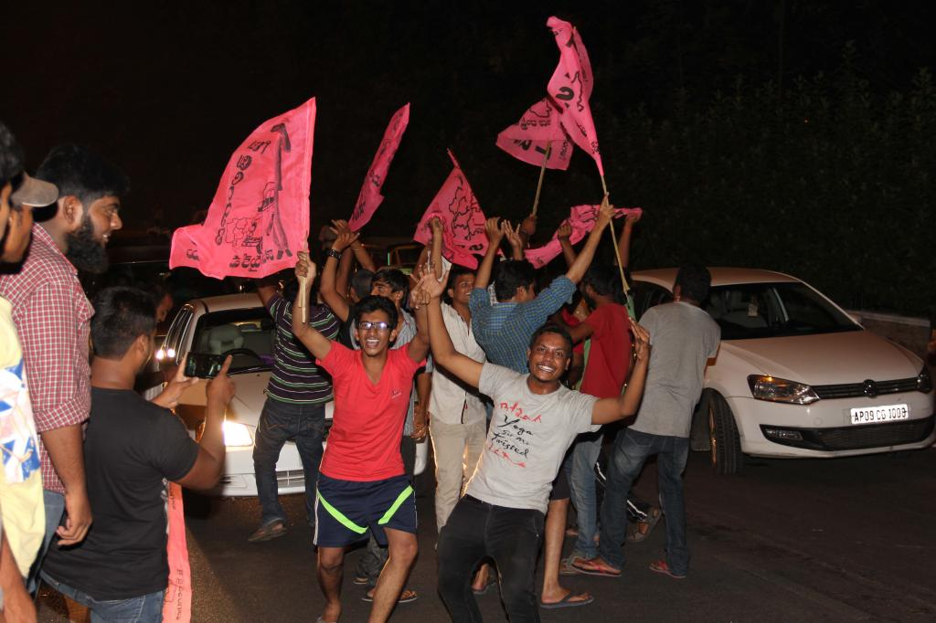 TRS celebrate the formation of Telangana 01.06.2014 Midnight and People celebrating at charminar Gal