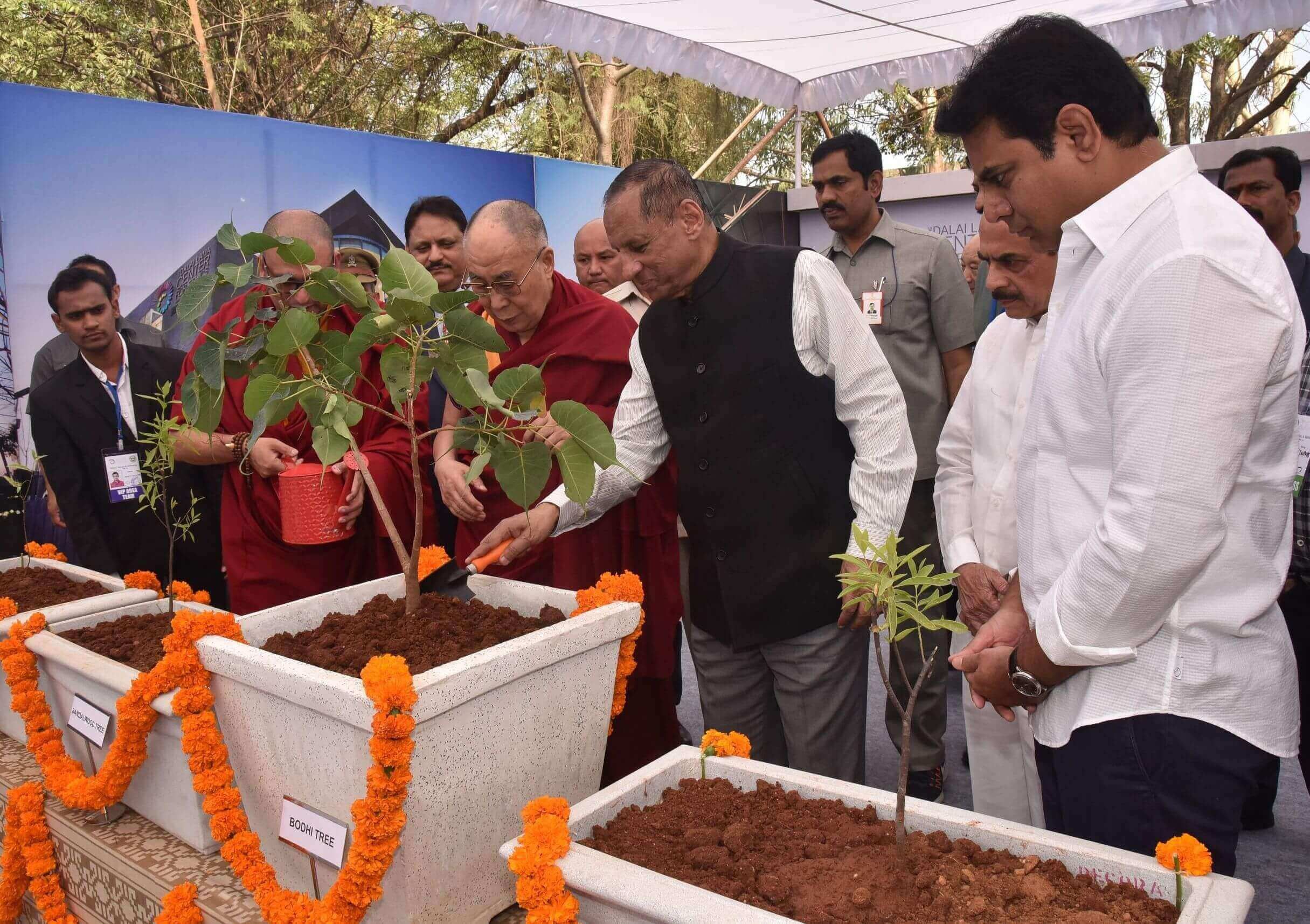 Governor ESL Narasimhan, Telangana Minister KT Rama Rao attends Laying Foundation stone of Dalai Lama Centre, Hyderabad on 12-02-2017.