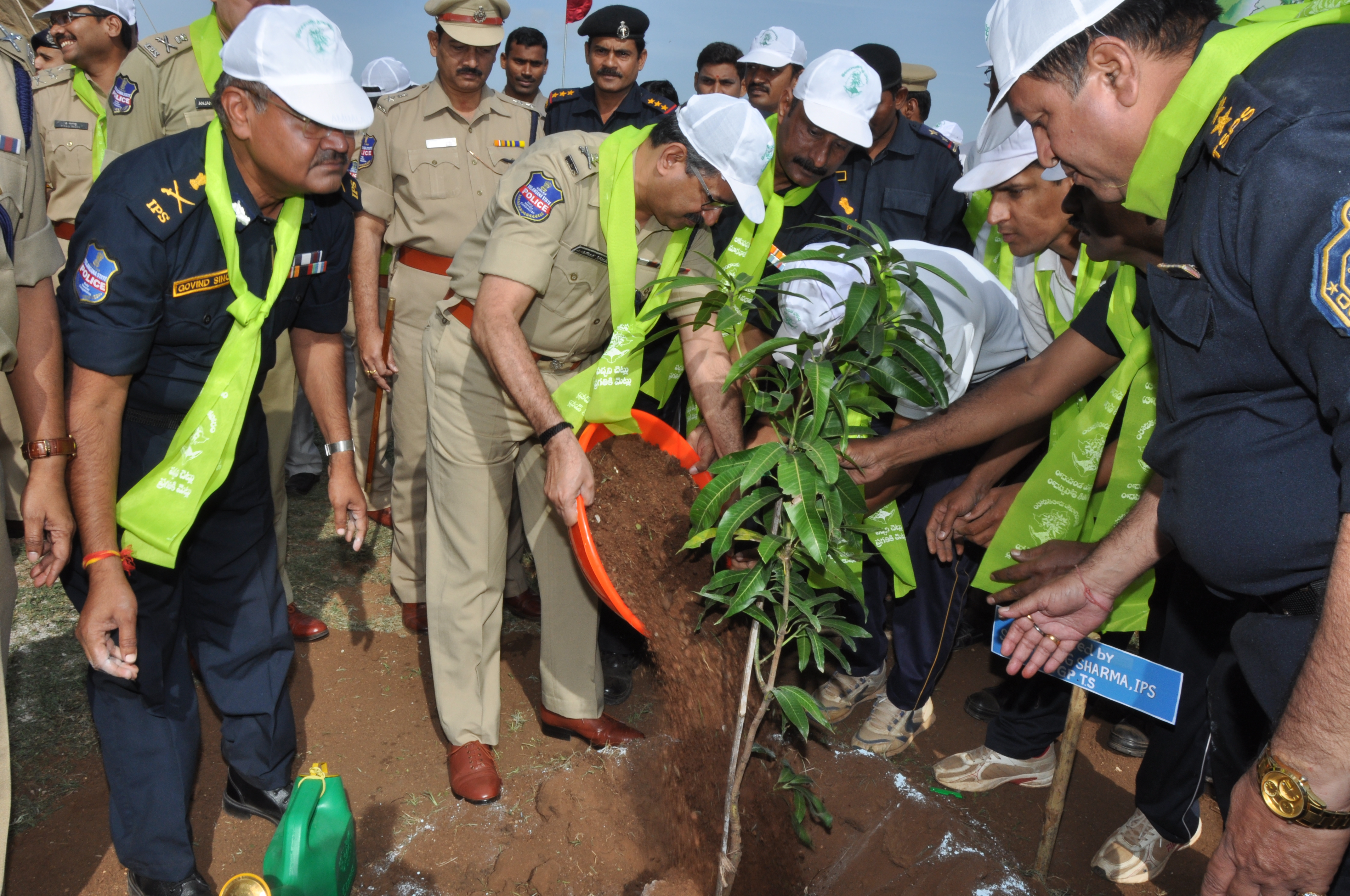 TS DGP Anurag sharma along with senior police IPS Officers  participation in Haritha Haram in Octopus Commandos Training Centre at Ibrahimpatnam on 14.07.2016