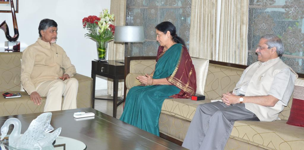 Union Minister Nirmala Sitharaman met AP CM N.Chandrababu Naidu at his home on 10.8.14 Gallery