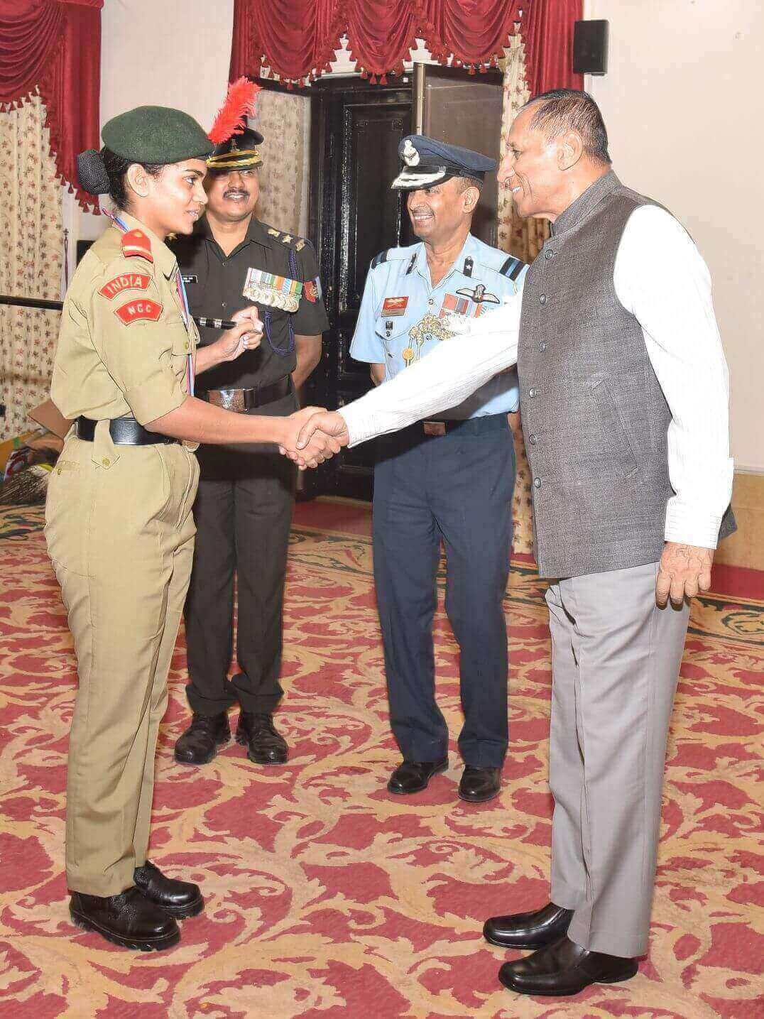 Governor ESL Narasimhan participated in the \'At Home\' organized at Raj Bhavan to felicitate NCC Cadets who participated in the Republic Day Camp 2017 held at New Delhi, and presented medals to winning cadets. NCC Cadets presented Cultural dance pro