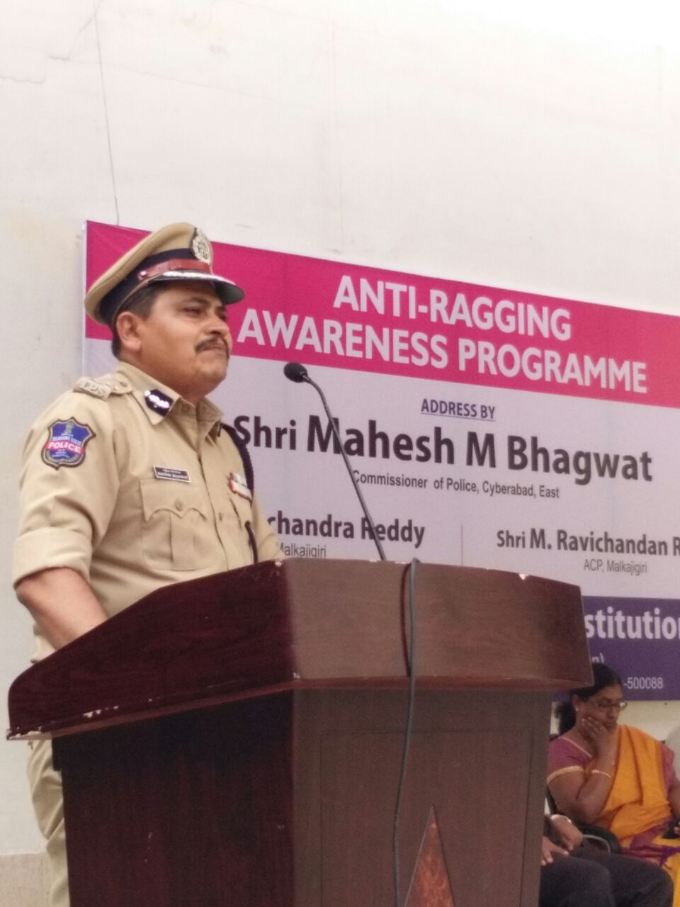 Cyberabad East  CP Mahesh bhagwat  planted sapling  as the part of HARITHA HARAM and addressed the students of CVSR college about Anti Ragging, SHE teams, drunken driving and road accidents in Hyderabad on 29.07.2016.