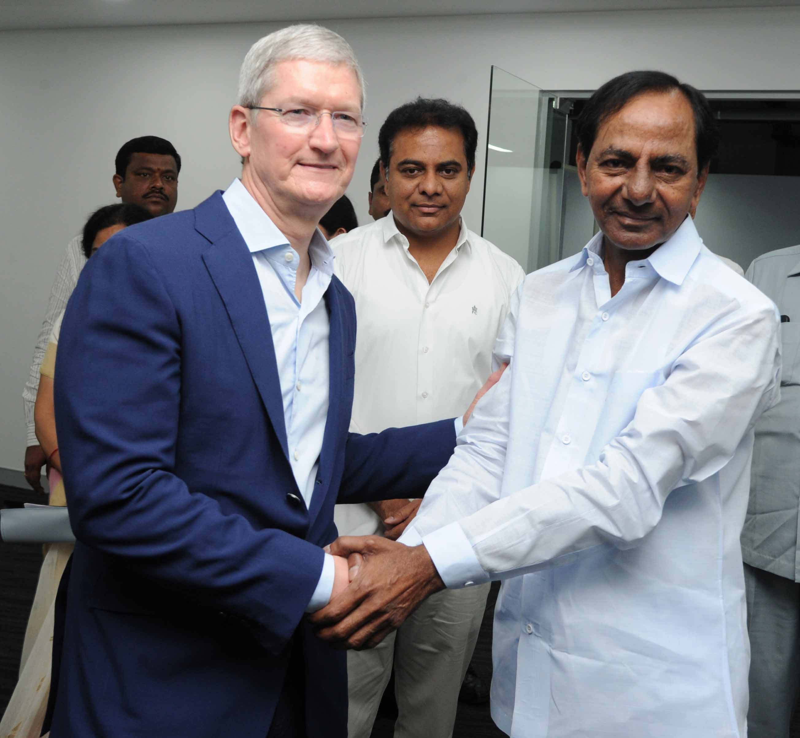 Telangana Chief Minister K. Chandrashekar Rao inaugurated the Apple Development Centre along with the technology major\'s Apple CEO Tim Cook and IT Minister KT Rama Rao at Waverock building, Nanakramguda, Hyderabad on 19-05-2016