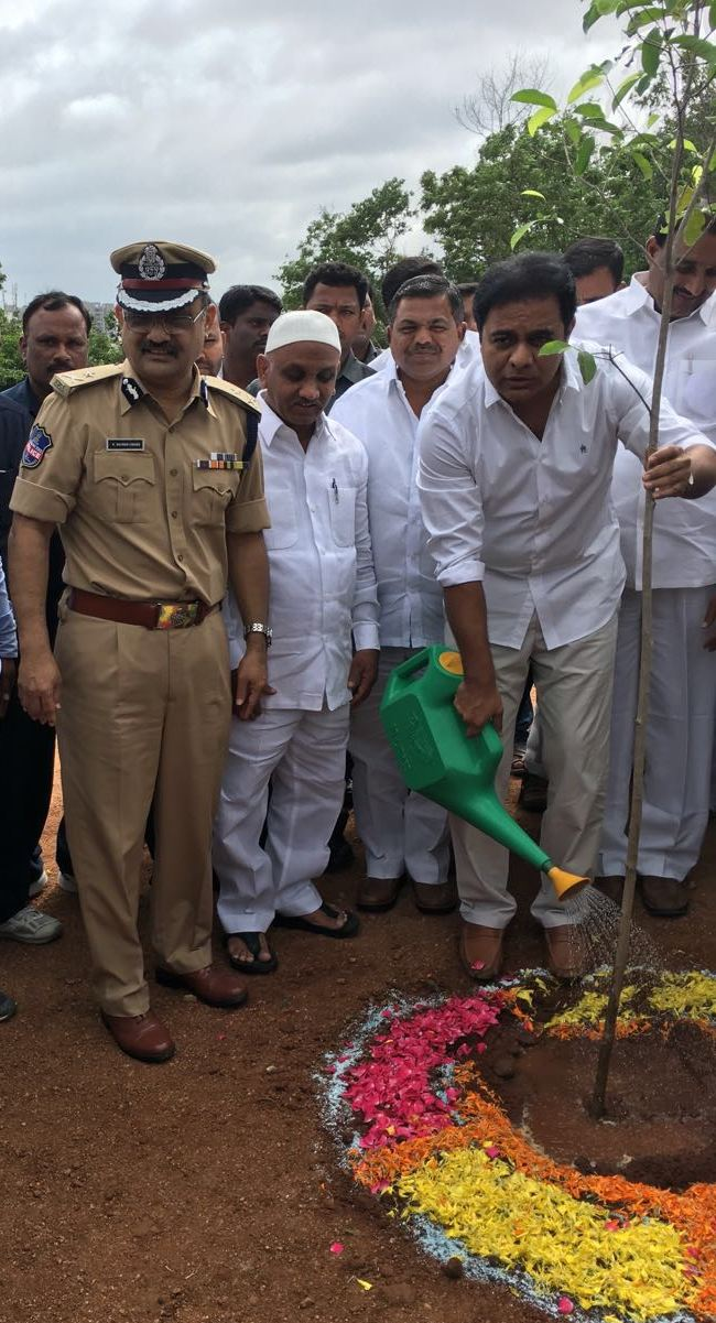 TS Minister K.T.Rama Rao inaugurated Haritha Haram Programme at Cyberabad Police Commissionerate Office in Hyderabad on 08-07-2016