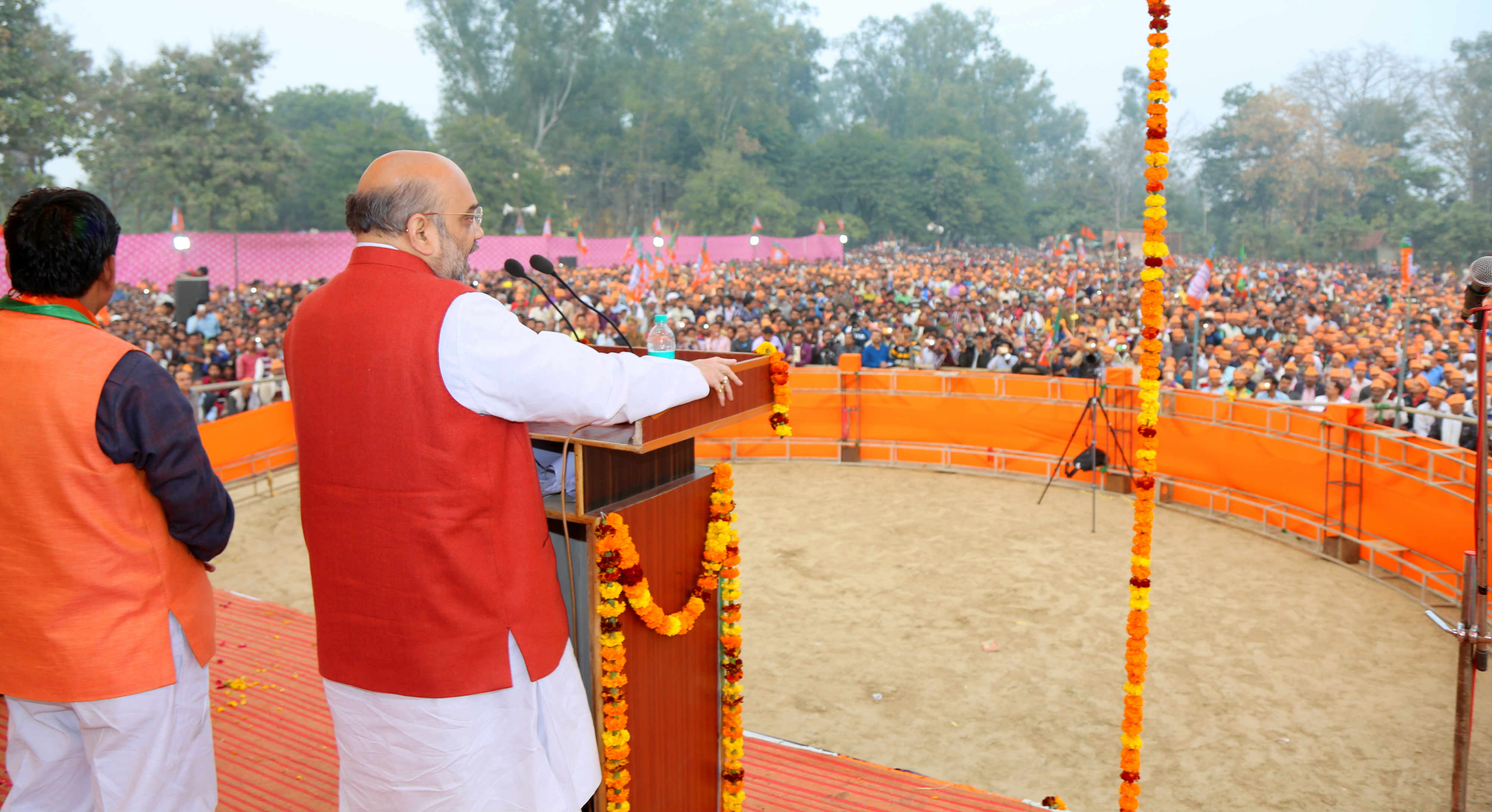 BJP National President Amit Shah addressing a public meeting in Khurja, Bulandshahr, Dhaulana, Hapur and Meerut in Uttar Pradesh on 03.02.2017