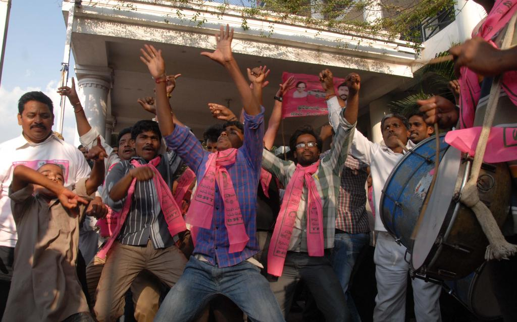 TRS Party activist celebrations at TRS Bhavan Gallery