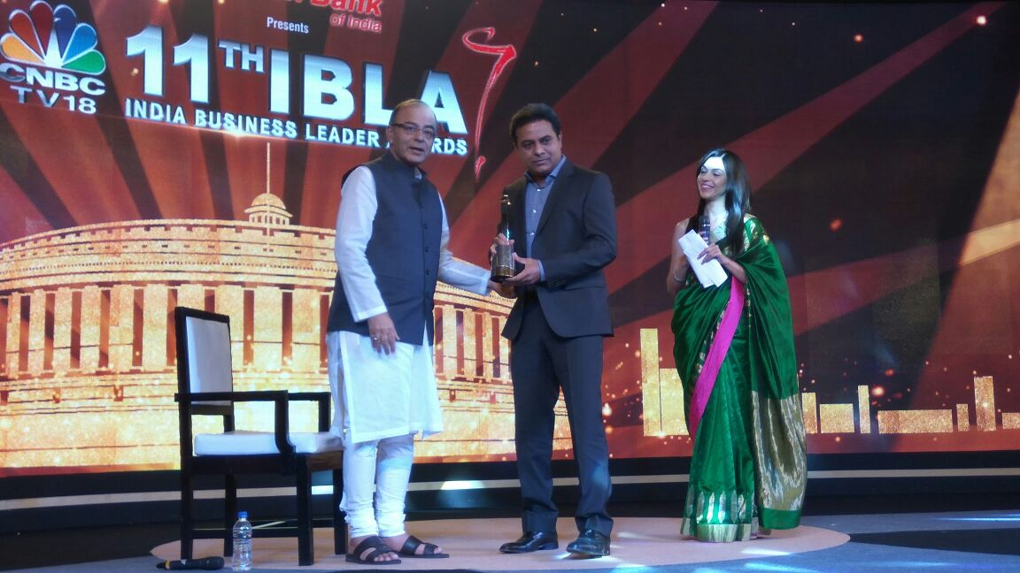 Honble Minister For IT,MA&UD K.T.Rama Rao receiving Most Promising State award given to Telangana State By CNBC TV 18 Channel as part of the Indian Business Leaders Awards instituted by the channel at Hotel The Grand, New Delhi on 30th August