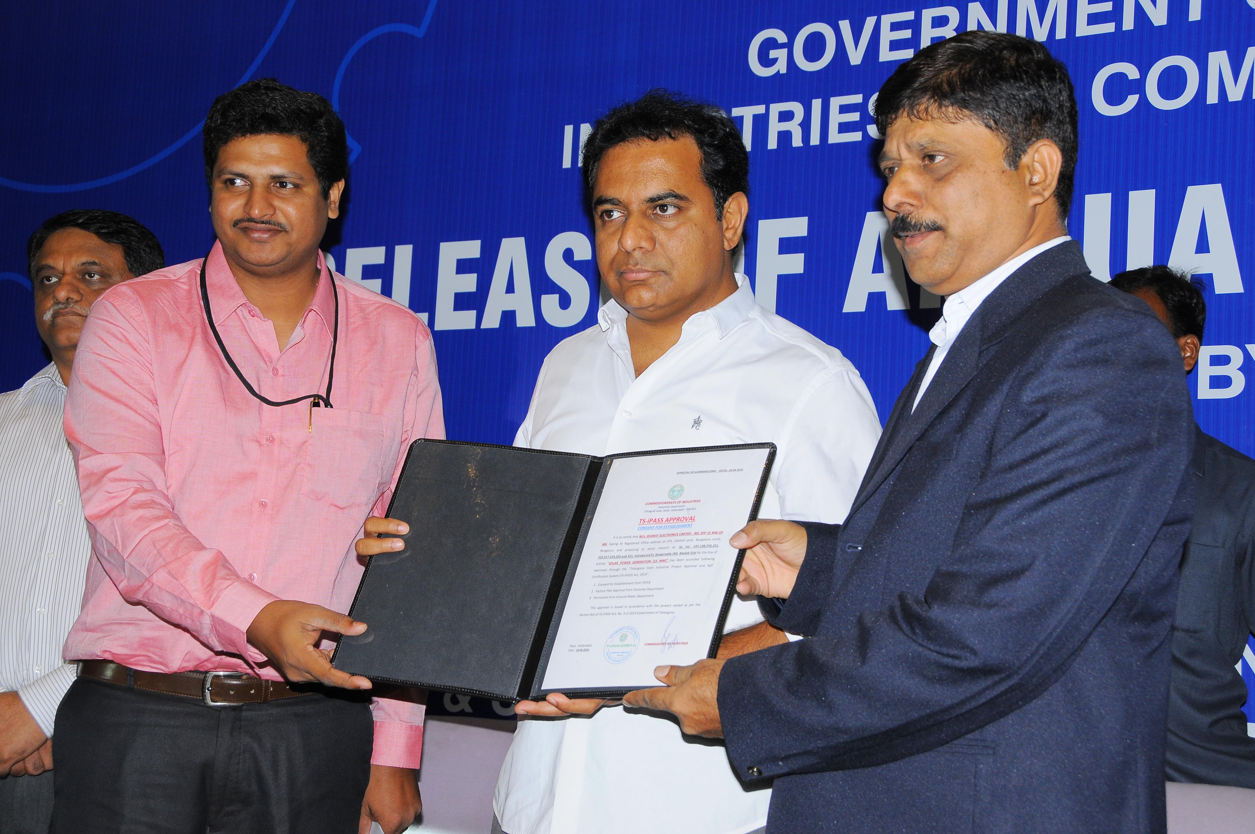 K.T.Rama Rao, Minister for Industries is seen releasing the Annual Report of Industries Department at Hotel ITC Kakatiya, Begumpet, Hyderabad on 18.06.2016.