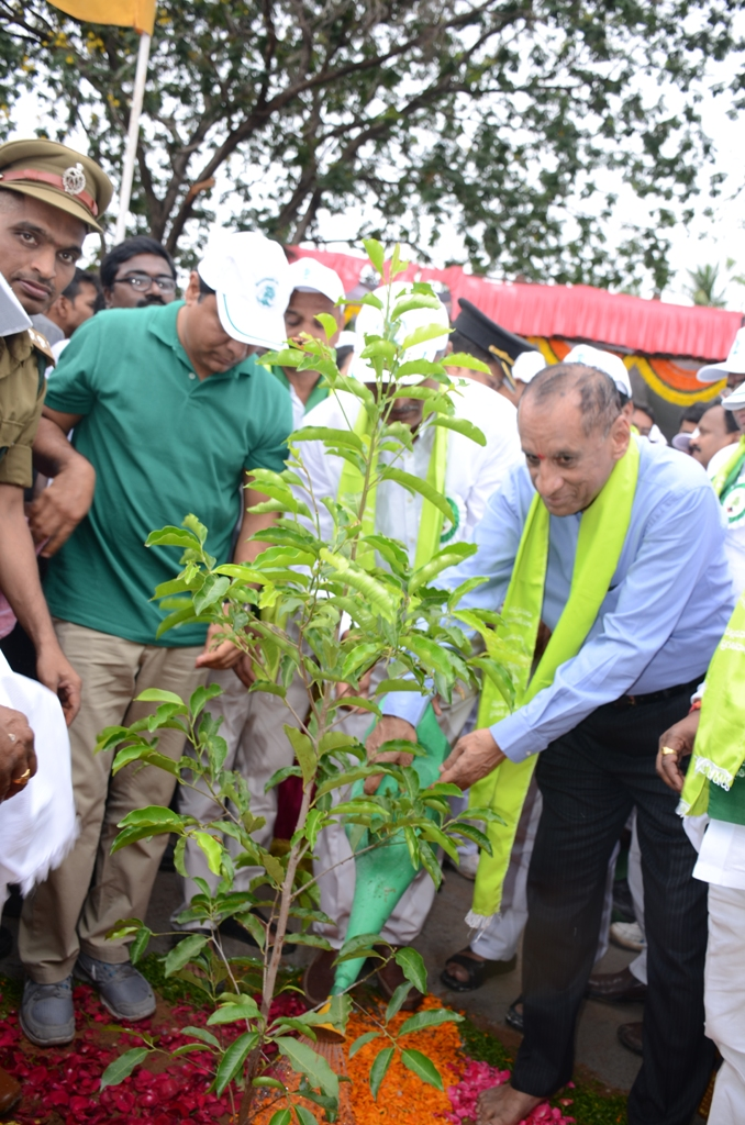 Governor Narasimhan and ministers KT Rama rao, Harish rao Participated Haritha Haram Program at BHEL RR dist on 11-07-16