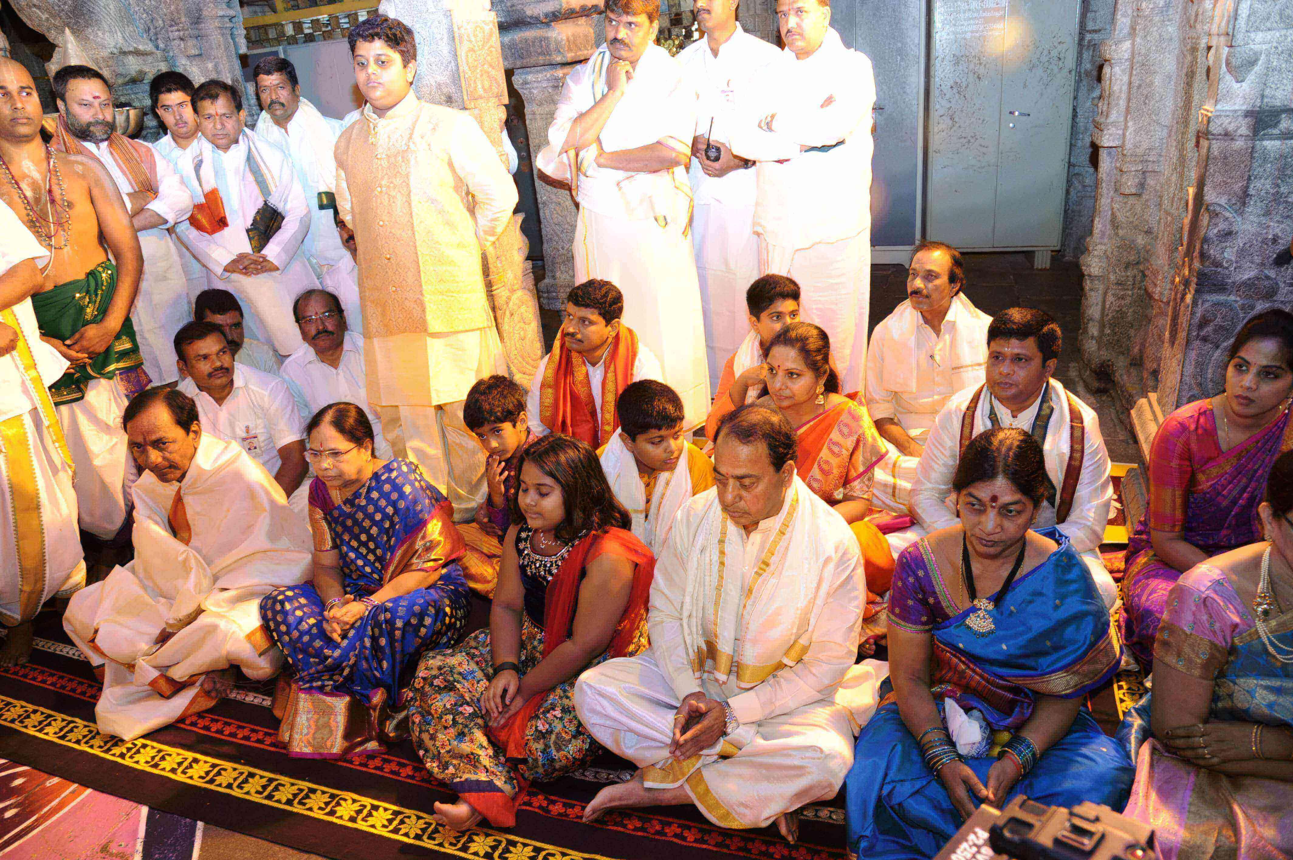 Telangana Chief Minister K Chandrashekhar Rao along with members of his family has donated offerings to Lord Venkateswara Swamy in Tirumala. 22.02.2017.
