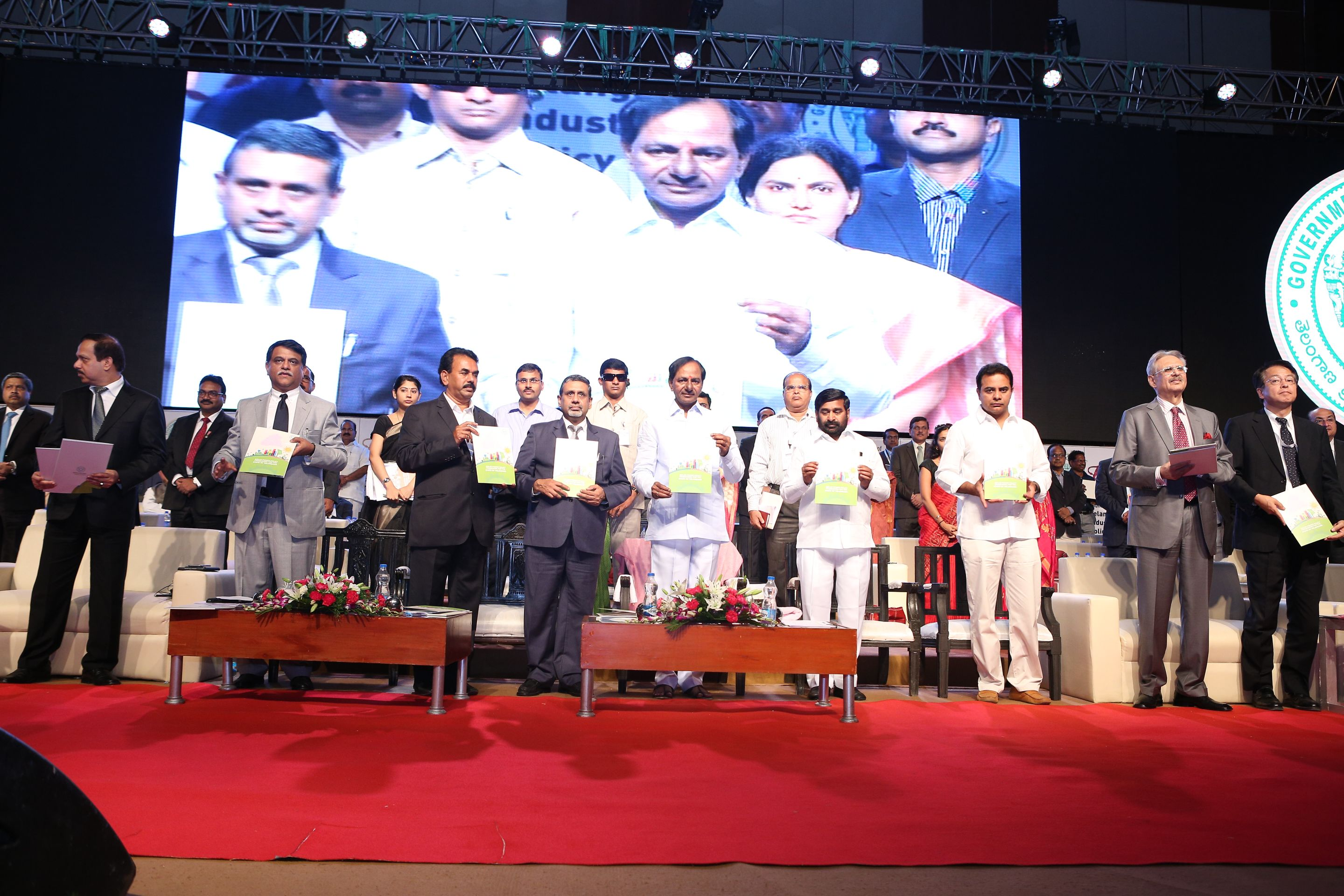Chief Minister K.Chandrashekhar Rao launching of Telangana Industrial Policy 2015 at HICC on 12.06.2015.