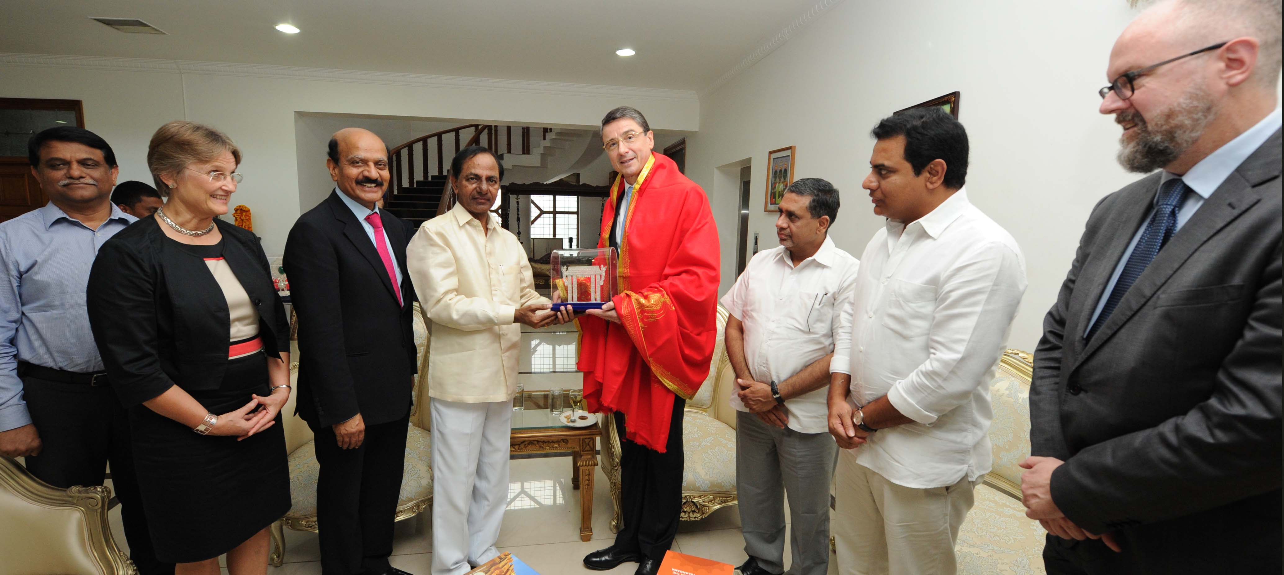 Dr Martin Ney German Ambassador accompanied by his wife Dr (Mrs) Gabriele Ney, Called on the E S L Narasimhan at Rajbhavan and CM K Chandrashekhar Rao at camp office. 04.10.2016.