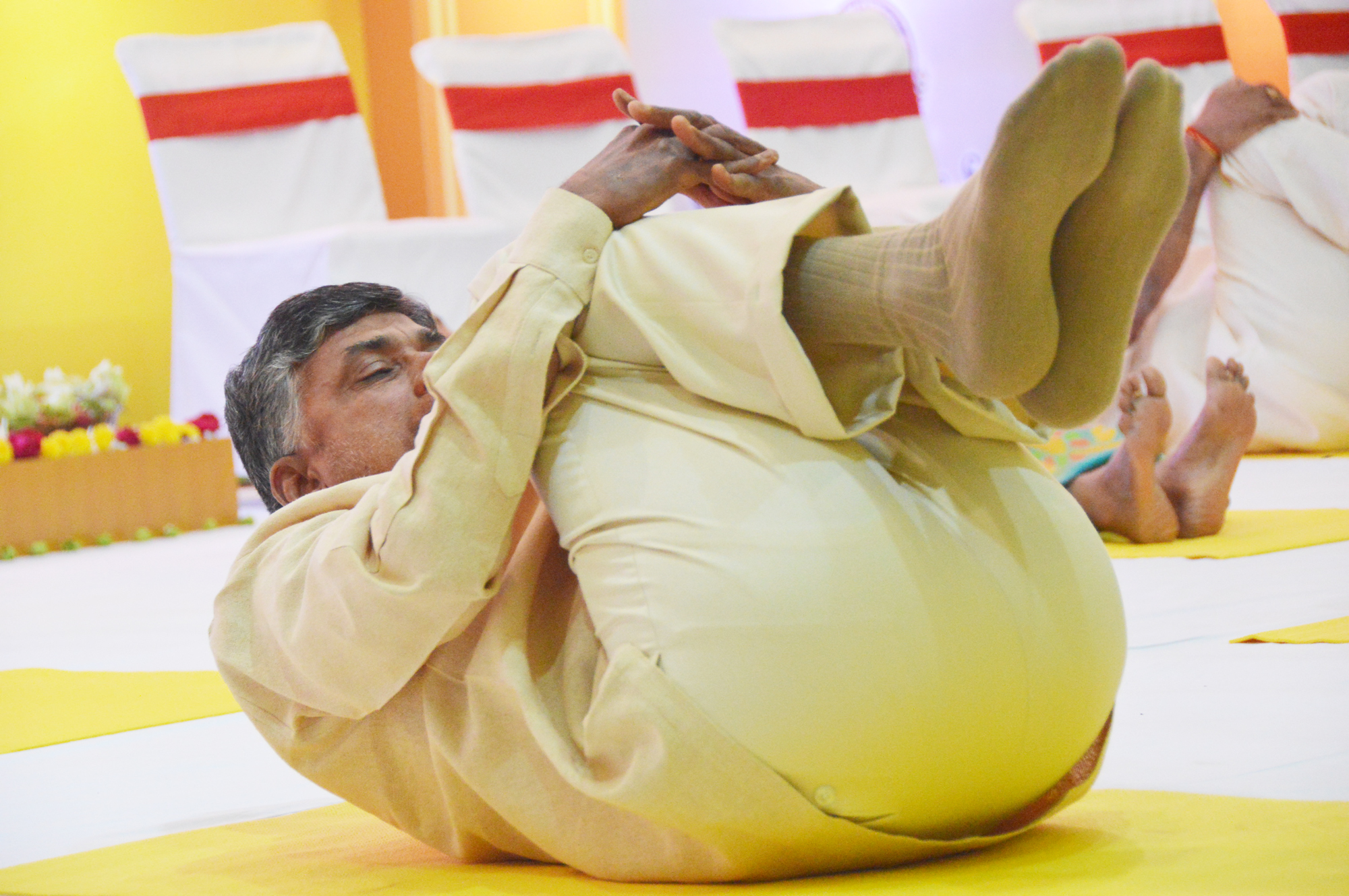 AP Chief Minister Chandrababu Yoga with Students on 21.06.2015