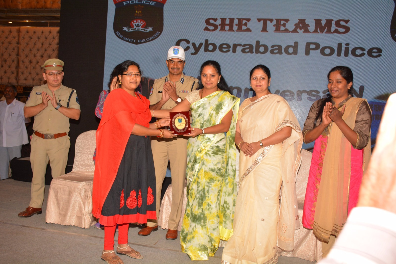 She Team 1st anniversary Programme at Madhapur, N convention Hall in Hyderabad. MP K.Kavitha, CP CV Anand, Lalithanand, Film actor Jayasudha, Madhapur DCP Kartikeya, Rangareddy SP Ramarajeswari and other offficers, Students are attend in this program
