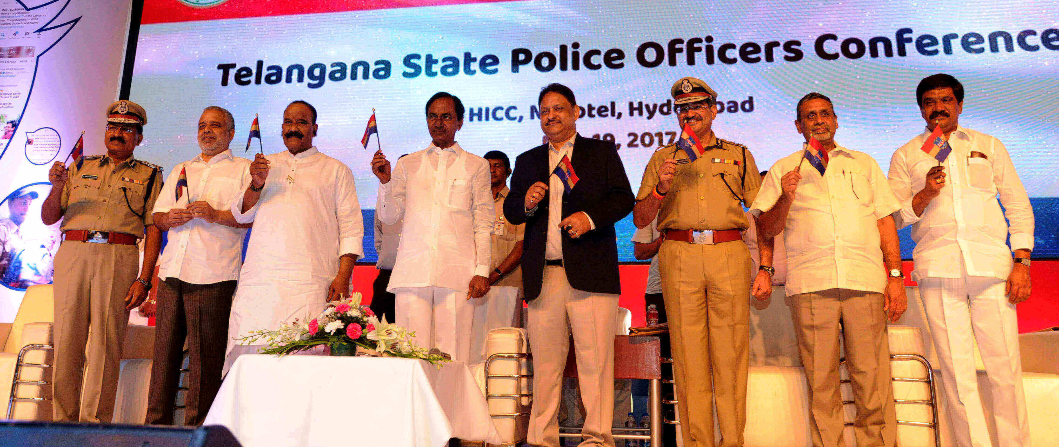 Telangana CM K Chandrashekhar Rao made the inaugural address of the statewide police conference held in Hyderabad at HICC on .19.05.2017.