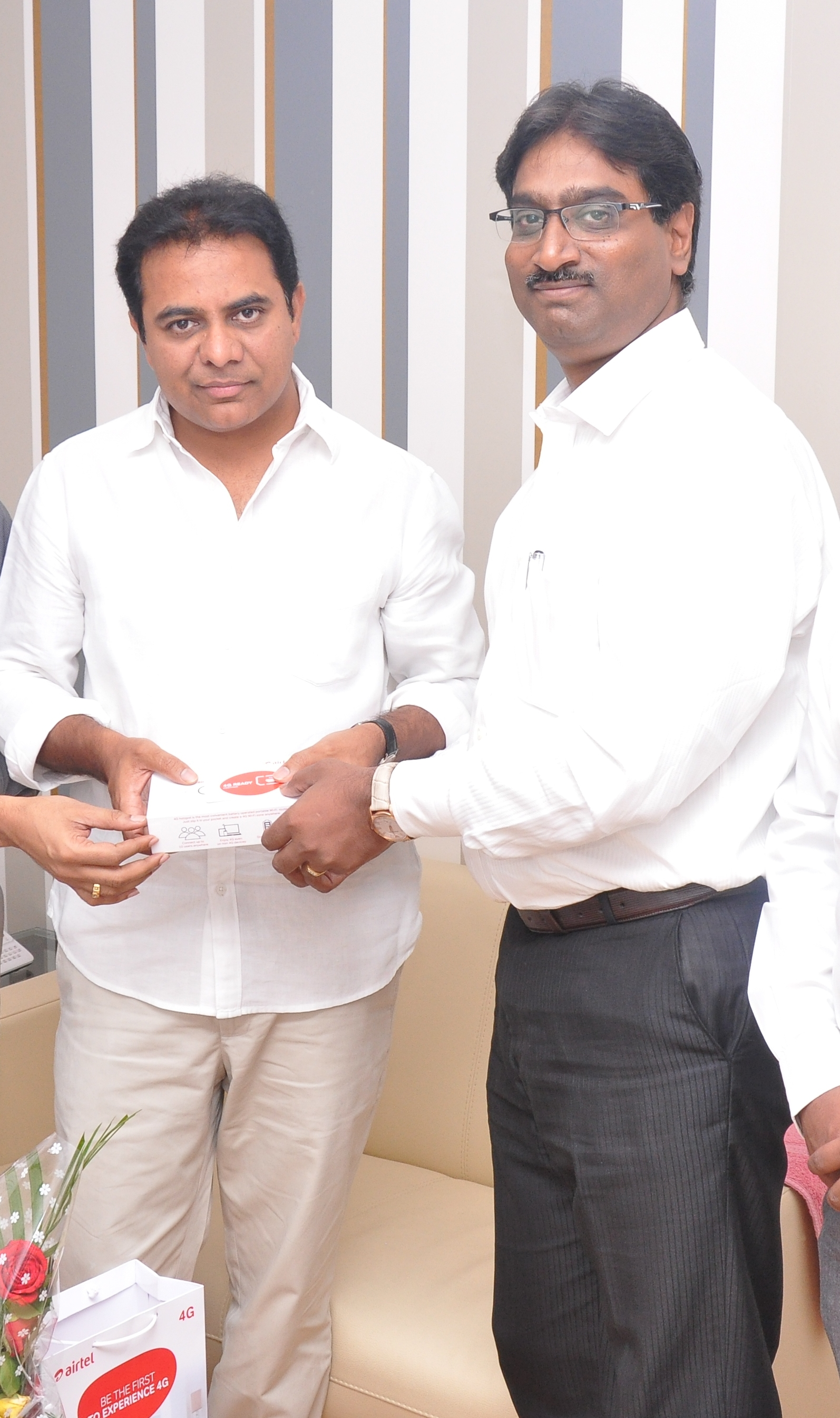 Airtel CEO Meeting with minister KT RAMA RAO on the occasion of the launch of Airtel 4G in Hyderabad